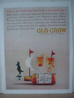 1964 Old Crow Kentucky Bourbon Whiskey Full Page Color Vintage Print Ad 10395