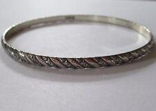 DANECRAFT STERLING signed patterned SILVER bangle bracelet LOVELY