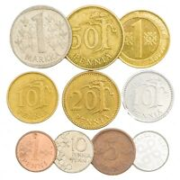 10 MIXED FINLAND COINS FINNISH SUOMI PENNI PENNIÄ MARKKAA COLLECTIBLE COINS