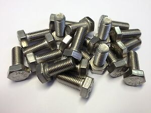 """QTY 10 3/8UNF x 1"""" HEX HEAD SET BOLTS FULLY THREADED STAINLESS STEEL GRADE A2"""