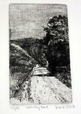 "Frank Stack Signed ""Country Road"" Etching (Robert Crumb contemporary)"