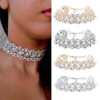 Crystal Rhinestone Pendant Choker Collar Necklace Women Wedding Jewelry CZ #L