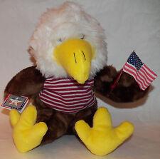 """NWT Kellytoy Sitting Eagle American Flag Plush 12"""" Stuffed Animal Toy 4th July"""
