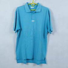 ADIDAS Vintage Mens Blue Short Sleeve Cotton Polo Shirt Tee Top SIZE GB42/44, L