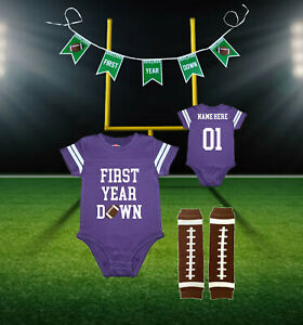 First Year Down Personalized 1st Birthday Purple Football Jersey | Free Banner