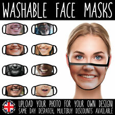 PERSONALISED FACE MASKS - UK VIRUS WASHABLE PROTECTIVE COVERINGS YOUR OWN PHOTO