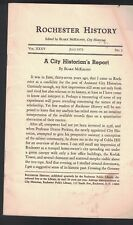 July 1973 Rochester History booklet City Historian's Report NY