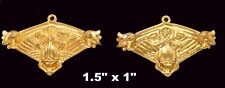 Vintage Brass Stamping / Embossed Scarab and Lotus /Egyptian Revival 2 Pcs.
