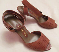 vintage 60's QualiCraft ankle strap perforated peep toe brown leather shoes 5 M