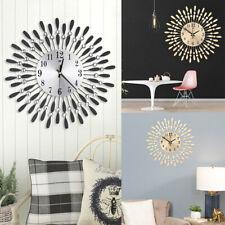 Round Sparkly Wall Clock Living Room Bedroom Clock Diamond Metal Home Decoration