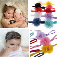 10Pcs Baby Kids Girls Flower Pearl Chiffon Lace Hair Band Rhinestone Headband