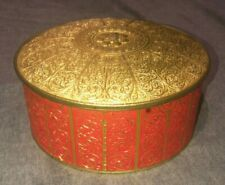 VINTAGE Guildcraft Gold/Red Circular Tin New York Cookie Sewing Embossed