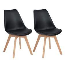 2er Stuhl Esszimmerstuhl aus Holz Beine Retro Kunstleder Wohnzimmer Schwarz