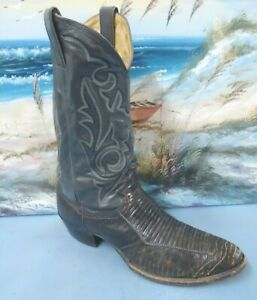 Mens Justin Grey/Brown Exotic Leather Western Cowboy Boot size 9.5 D    8407