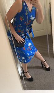 Womens Stuning Floral Midi Dress Uk 10-12 M New