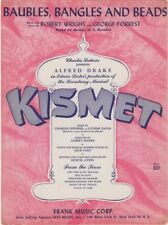 Baubles, Bangles And Beads, Kismet, 1953 vintage Theatre Sheet Music