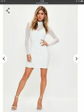 Missguided White High Neck Mesh Long Sleeve Bodycon Dress. Size 8 New