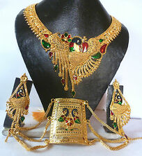 22k Gold Plated Meenakari Peacock wedding Necklace Earrings Bracelet Set offer