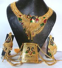 22k Gold Plated Meenakari Peacock wedding Necklace Earrings Bracelet Set offer