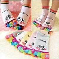 Women Girls Trainer Cute Sports Cotton Five Finger Cartoon Smile Toe Socks