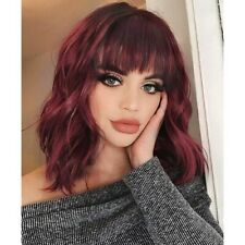 Women's Shoulder Length Wigs Curly Bob Wig with Bangs for Cosplay Party Daily