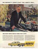 1958 ORIGINAL VINTAGE HERTZ CAR  RENTAL MAGAZINE AD