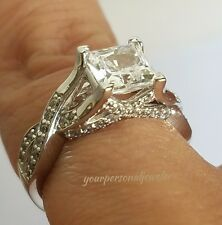 1.75 ct 14k white gold princess cut square Man Made Diamond Engagement Ring s 5