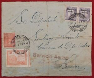 Mayfairstamps Peru 1928 to Santiago Multifranked Airmail Cover wwk14569