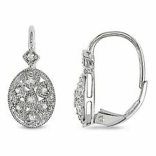 Sterling Silver Diamond Geometric Leverback Cluster Earrings 0.12 Cttw G-H I2-I3