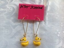 *BETSEY*JOHNSON*YELLOW*DUCK*DUCKLING*CRYSTAL*EARRINGS*FROM*NORDSTROM*RACK*