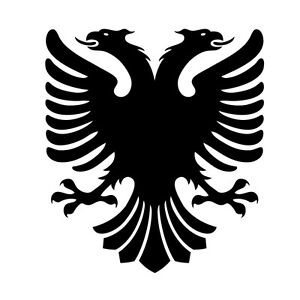 2 x Albanian Flag Eagle Crest Sticker, Decal. Free Recorded Postage