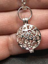 "Locket Hollow Filigree Small Charm Tibetan Silver 18"" Necklace D611"