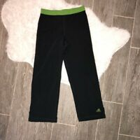Adidas Womens Activewear Capris Black Green Mid Rise Stretch Pant Exercise Gym S
