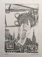 VINTAGE NEW YORK CITY MANHATTAN SURREAL MODERNIST ARTIST PROOF SIGNED ETCHING