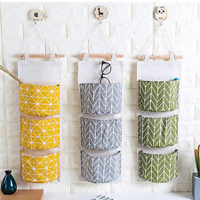 3 Pocket Hanging Bag Wall Storage Bag Cotton Linen Cloth Closet Organizer Holder