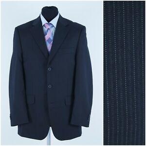 GEORGE Mens Size UK 42R Black Pinstripe Sport Coat Blazer Jacket