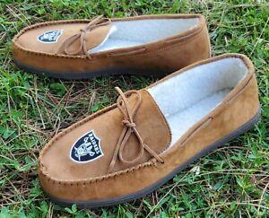 Raiders NFL- Las Vegas Moccasin Slippers -Tan, Size XL (12-13)