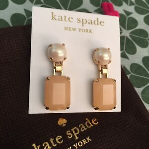 Lovely KATE SPADE NY LINEAR Drop Earrings Opening Night Gold PEARL BLUSH NWT