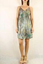 SEDUCE Silk Mottled Green Print Beaded Dress Size S 10