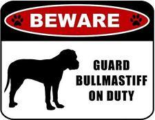 Beware Guard Bullmastiff (silhouette) on Duty Laminated Dog Sign