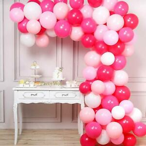 "WHITE,PINK,HOT pink LATEX 10""inch Pearlised Balloons Wedding Birthday ANNIVERSAR"