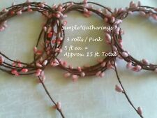 PINK Berry Garland PIP Single Ply 3 pc 15 feet Total Wispy Weddings Crafts Rope