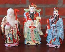 "3 Lucky Gods - Fu Lu Shou - 8"" tall Porcelain Chinese Figurine - Set of 3 New"