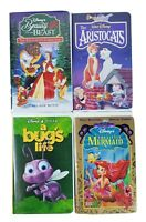 Disney VHS Cartoons Movies Set Lot of 4 Bug's Life Little Mermaid Aristocats