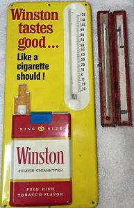 VINTAGE 1960'S WINSTON CIGARETTE THERMOMETER METAL TIN LITHO SIGN!