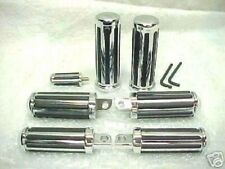 Chrome & Rubber Rail Style Foot Peg Set with Hand Grips & Shifter for Harley