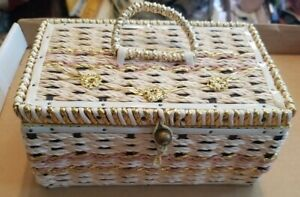 Vtg  Mid Century Woven Wicker Sewing Basket Made in Japan Gold Flowers MCM