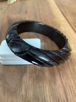 Vintage Carved Bakelite Bangle Bracelet Black/ Dark Chocolate Brown