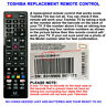 GENUINE TOSHIBA REPLACEMENT TV REMOTE CONTROL WORKS 99% OF ALL LCD/LED MODELS