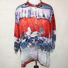 NEW NWT Citron Santa Monica Clothing Butterfly Landscape Fukure Silk Blouse 1X